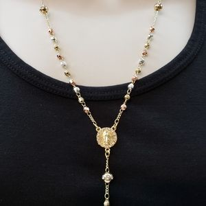 Virgin of Guadalupe Rosary. Gold plated 3 color